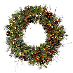 30 Inch Cibola Mixed Berry Wreath 50 LED Warm White Lights