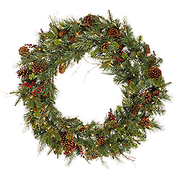 36 Inch Cibola Mix Berry Wreath 100 DuraLit Clear Lights