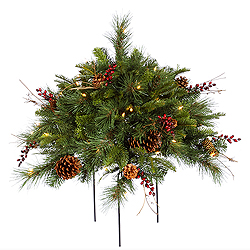 1.5 Foot Cibola Berry Bush 3 Foot Wide 50 DuraLit Clear Lights