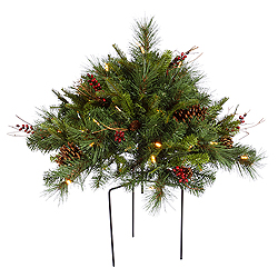 1.5 Foot Cibola Berry Bush 3 Foot Wide 50 LED Warm White Lights