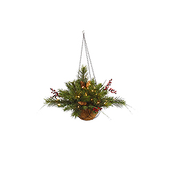 20 Inch Mixed Berry Cone Hanging Basket 35 Clear Lights