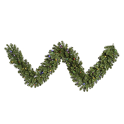 9 Foot Grand Teton Garland 100 LED Multi Lights