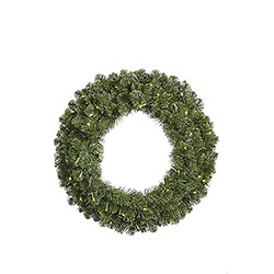 12 Foot Grand Teton Artificial Christmas Wreath 1800 LED Warm White Lights