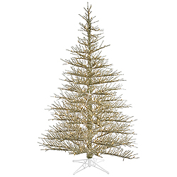 7.5 Foot Champagne Stiff Needle Artificial Christmas Tree 600 Clear Lights