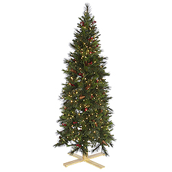 7 Foot Slim Devonshire Mixed Artificial Christmas Tree 650 LED Warm White Lights