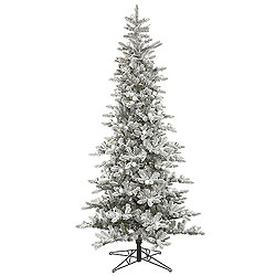 7.5 Foot Flocked Padroni Fir Artificial Christmas Tree 400 LED Warm White Lights