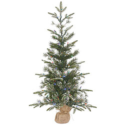 4 Foot Frosted Pasco Mixed Pine Artificial christmas Tree 100 LED Multi Lights