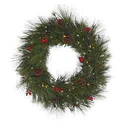 36 Inch Big Cascade Berry Wreath 100 LED Warm White Lights