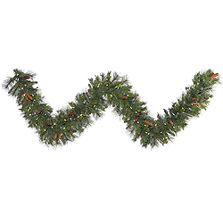 9 Foot Savannah Mixed Pine Garland 100 LED Warm White Lights