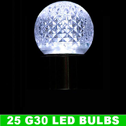 G30 LED Pure White Retrofit Night Light Christmas Replacement Bulb Box of 25