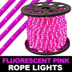 150 Foot Fluorescent Pink Rope Lights 2 Foot Increments