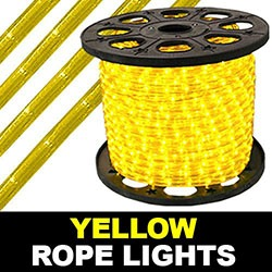 150 Foot Yellow Rope Lights 2 Foot Increments