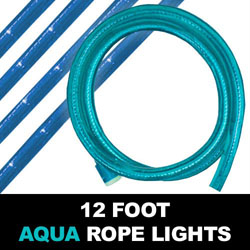 Aqua Blue Rope Lights 12 Foot