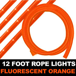 Fluorescent Orange Rope Lights 12 Foot