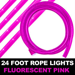Fluorescent Pink Rope Lights 24 Foot