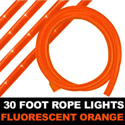 Fluorescent Orange Rope Lights 30 Foot