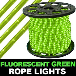 150 Foot Fluorescent Green Rope Lights 4 Inch Segments