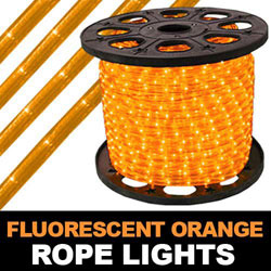 201 Foot Fluorescent Orange Rope Lights 4 Inch Segments