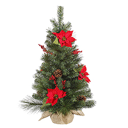 3 Foot Poinsettia Berry Pine Artificial Christmas Tree