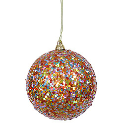 4 Inch Orange Glitter Round Ornament Multi Color Sequin 4 per Set