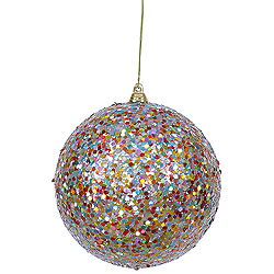4.75 Inch Teal Glitter Round Ornament Multi Colored Sequin