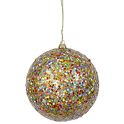 4.75 Inch Lime Glitter Round Ornament Multi Colored Sequin