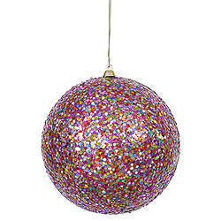 6 Inch Purple Glitter Round Ornament Multi Colored Sequin