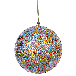 6 Inch Teal Glitter Round Ornament Multi Colored Sequin