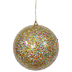 6 Inch Lime Glitter Round Ornament Multi Colored Sequin