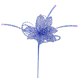 Blue Glitter Poinsettia Sequin Loops Decorative Artificial Floral Spray Set of 12