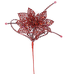 15 Inch Red Glitter Poinsettia Sequin Loops Decorative Christmas Floral Spray