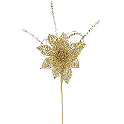 15 Inch Gold Glitter Poinsettia Sequin Loops Decorative Christmas Floral Spray