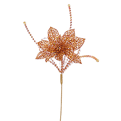 15 Inch Copper Glitter Poinsettia Sequin Loops Decorative Christmas Floral Spray
