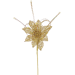 15 Inch Antique Gold Glitter Poinsettia Sequin Loops Decorative Christmas Floral Spray
