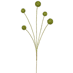 Lime Green Shiny Ball with Silver Stem Decorative Artificial Christmas Floral Spray Set of 12