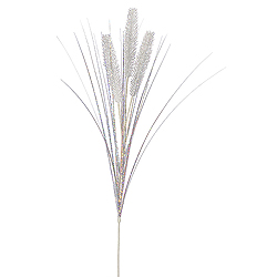 White Glitter Wheat Onion Grass Decorative Artificial Wedding Spray Set of 12