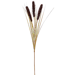 Chocolate Brown Glitter Wheat Onion Grass Decorative Artificial Christmas Spray Set of 12