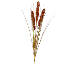 Copper Glitter Wheat Onion Grass Decorative Artificial Christmas Spray Set of 12