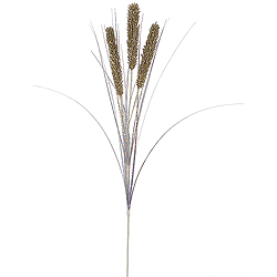 Champagne Glitter Wheat Onion Grass Decorative Artificial Wedding Spray Set of 12
