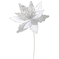 White Silver Glitter Poinsettia Decorative Artificial Christmas Floral Spray Set of 12