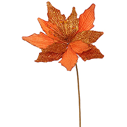 Copper Glitter Poinsettia Decorative Artificial Christmas Floral Spray Set of 12