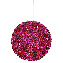 4 Inch Magenta Beaded Sequin Round Shatterproof UV Christmas Ball Ornament 4 per Set