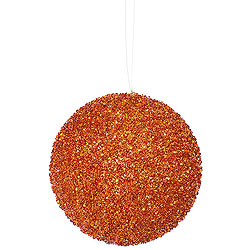 4.75 Inch Burnish Orange Bead Sequin Round Ornament 3 per Set