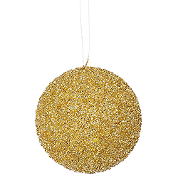 4.75 Inch Champagne Beaded Sequin Round Ornament 3 per Set