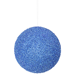 8 Inch Blue Beaded Sequin Round Ornament