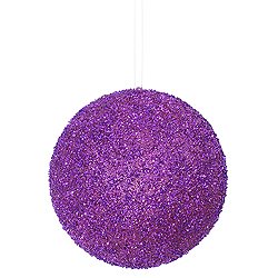 8 Inch Purple Beaded Sequin Round Ornament