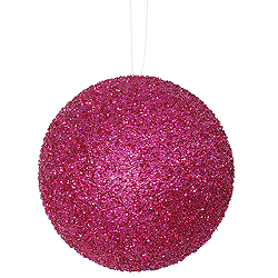 8 Inch Magenta Beaded Sequin Round Ornament