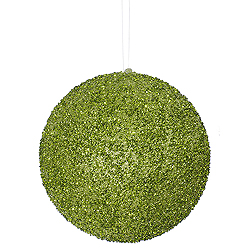 8 Inch Lime Beaded Sequin Round Ornament