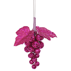 6 Inch Magenta Glitter Sequin Grape Cluster
