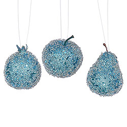 3.2 Inch Turquoise Glitter Bead Fruit Ornament Assorted 3 per Set